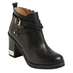 Topshop Black Leather Heeled Ankle Boots With Gold